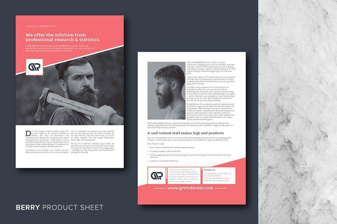 berry product sheet flyer templates on creative market. Black Bedroom Furniture Sets. Home Design Ideas