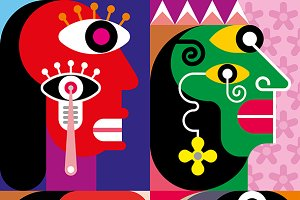 Four Faces - abstract vector illustr