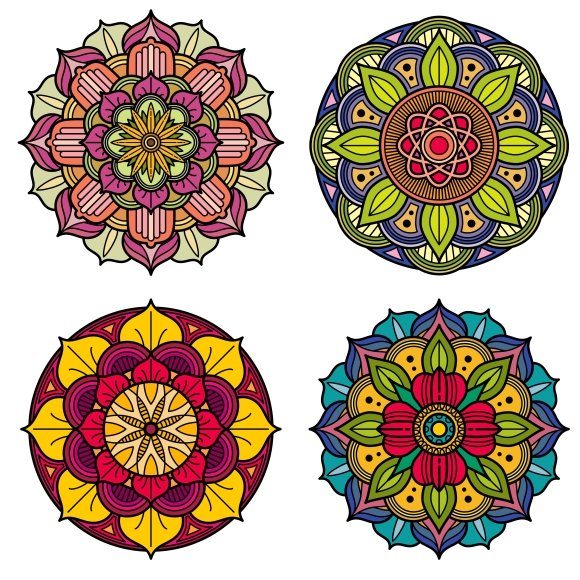 Color Mandalas Floral Patterns