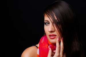 brunet woman in red scarf