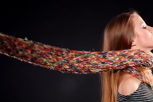 woman in color wool scarf