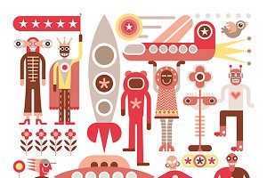 Humans and Aliens - vector illustrat