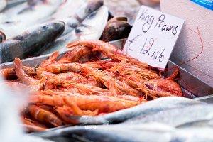 Fresh prawns market
