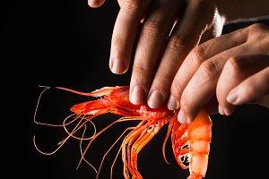 Eating prawns