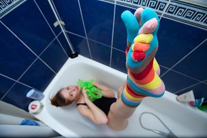 Crazy girl in bathroom weared
