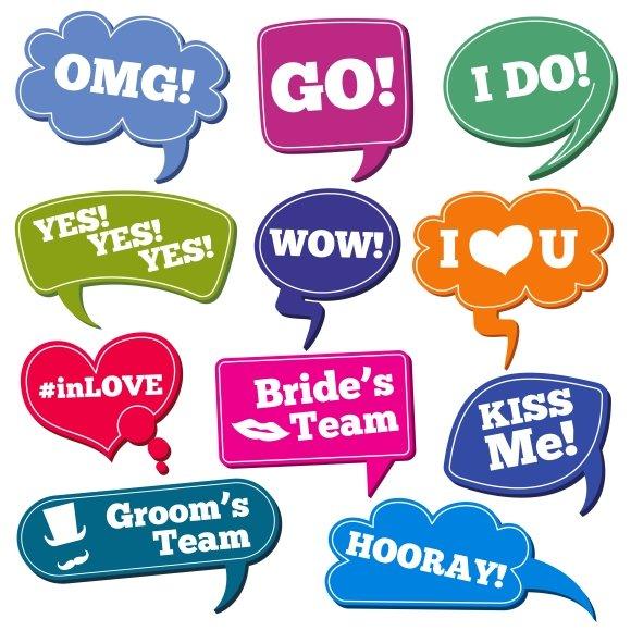 Wedding Phrases In Speech Bubbles