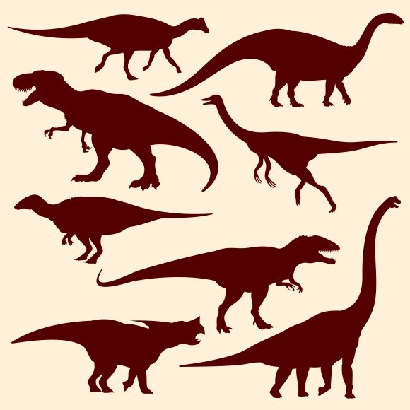 Dinosaurs Reptiles Silhouettes