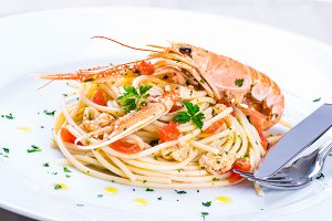 Seafood pasta plate.