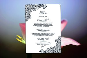 Floral Wedding Menu Card Template