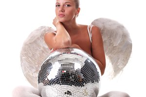 angel and disco ball