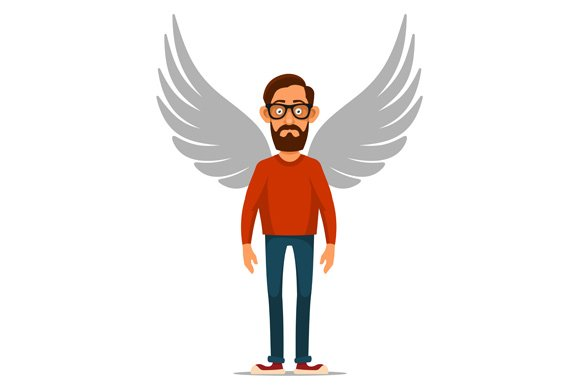 Man with Wings Sign. Angel Set. in Icons - product preview 2