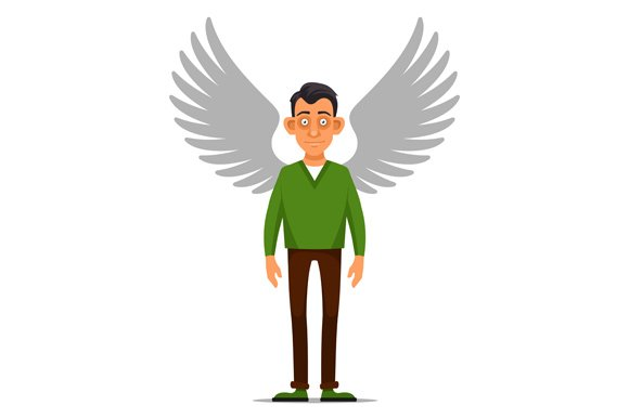 Man with Wings Sign. Angel Set. in Icons - product preview 3