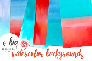 Red-Blue Watercolour Backgrounds
