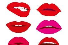 Woman lips vector icons set
