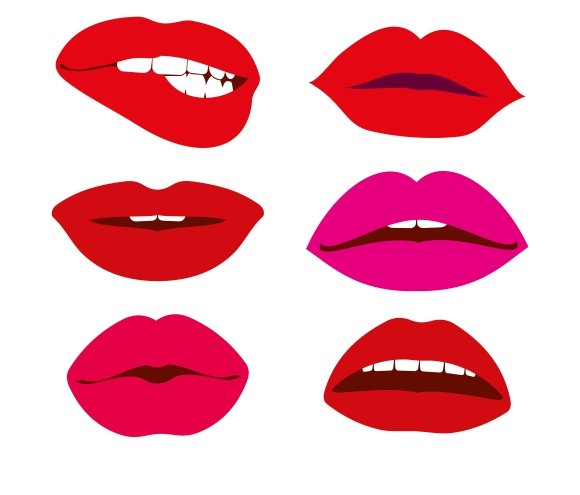 Woman Lips Vector Icons Set