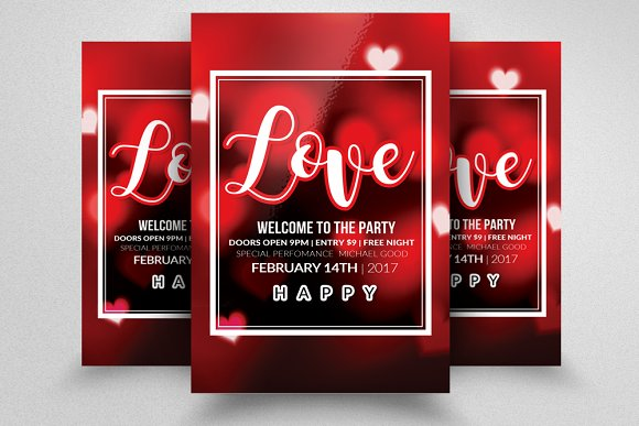 Valentines Party Flyer Templates