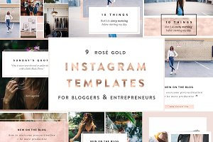 9 Rose Gold Instagram PSD Templates