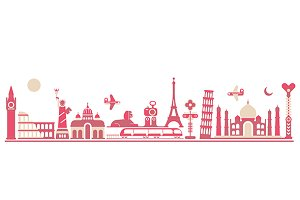 World Landmarks - vector illustratio