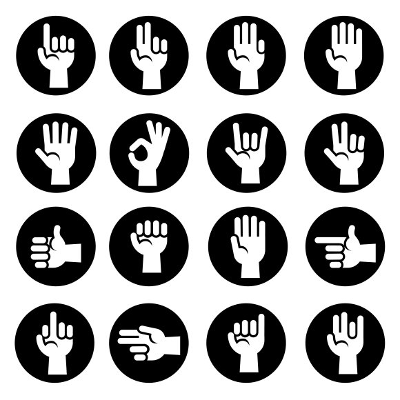 Hands Gestures Icons Set