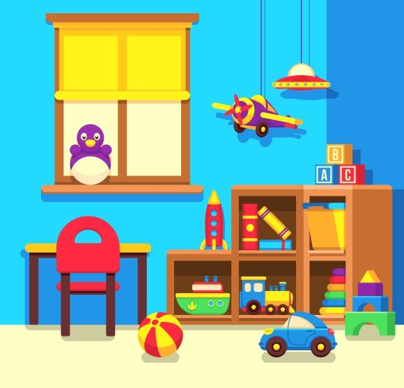 Toys For A Preschool Classroom : Kindergarten classroom with toys graphics creative market