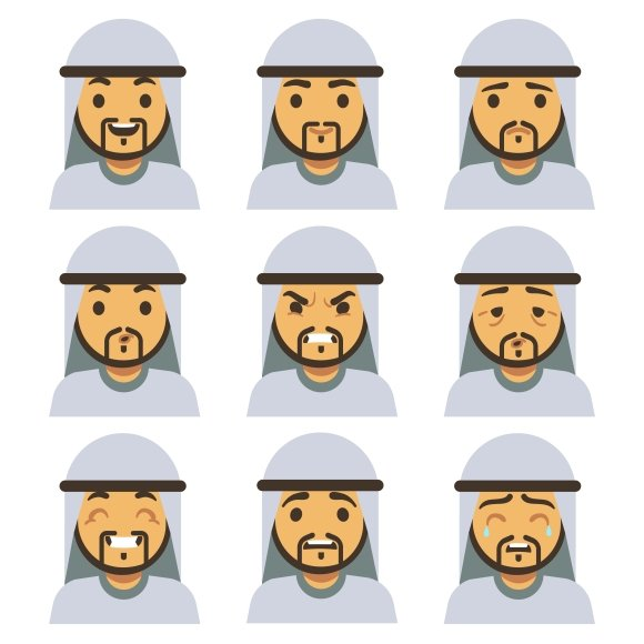 Traditional Arab Man Emotion Faces