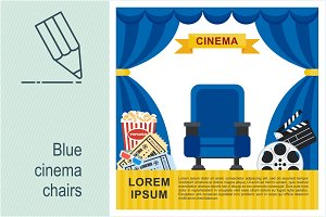Blue cinema chairs