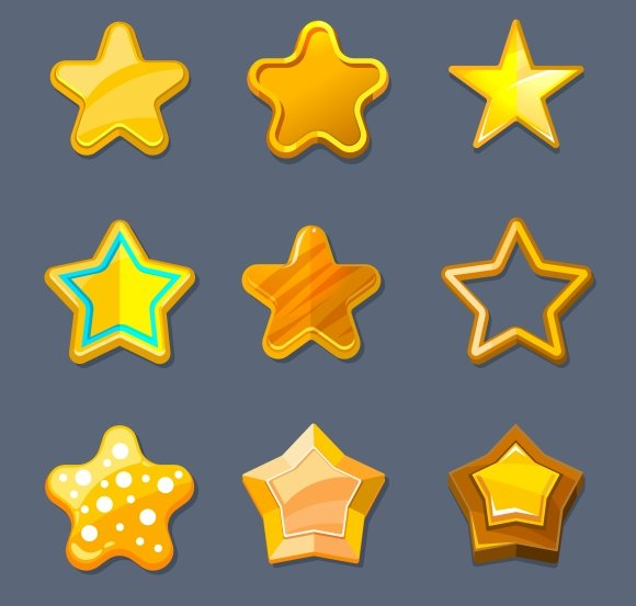 Glossy Gold Cartoon Star Icons