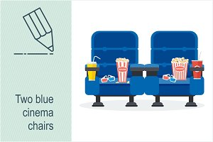Two blue cinema chairs