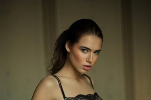 Brunette woman in sexy lingerie