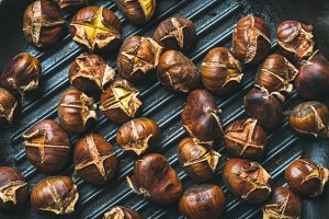 Close-up of roasted chestnuts