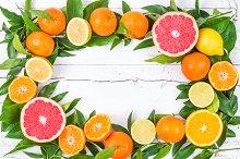 Fresh citrus frame.