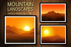 Mountains at Sunset. Vector set.