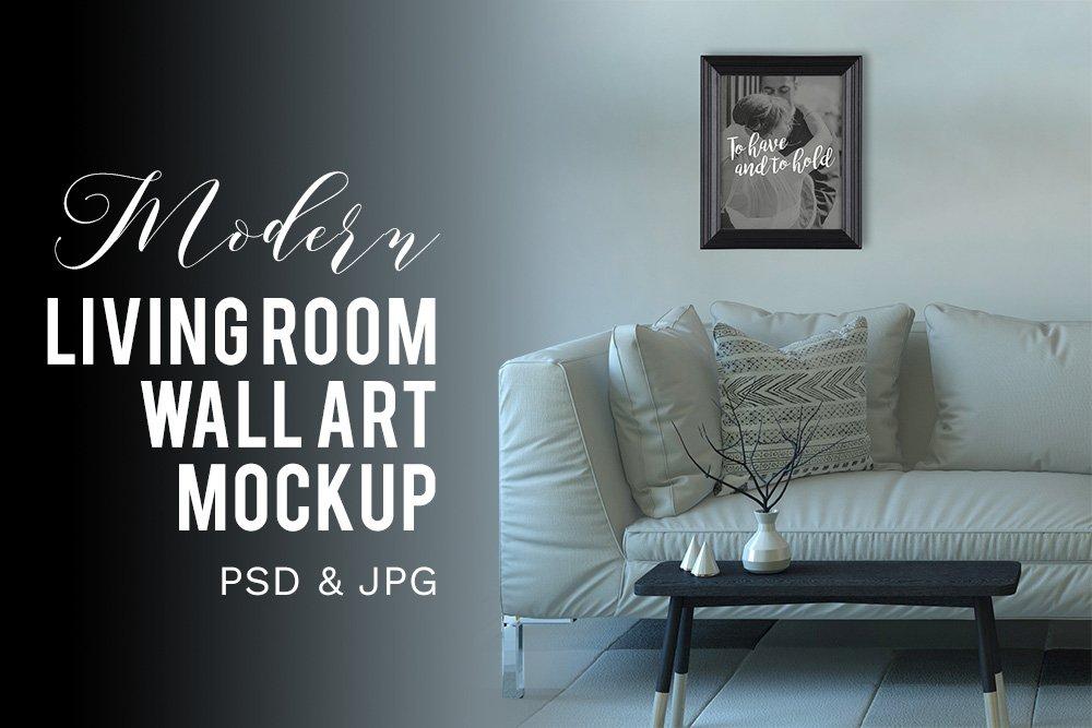 Modern Living Room Wall Art Mockup Product Mockups Creative Market