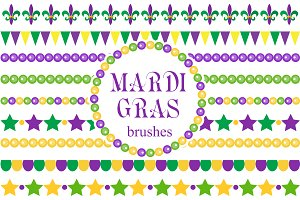 Mardi Gras borders and brush set