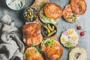 Variety of bagels with vegetables
