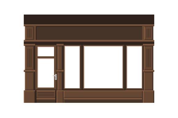 Shopfront Set With Blank Windows