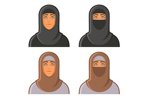 Muslim Woman in Hijab Avatars Set