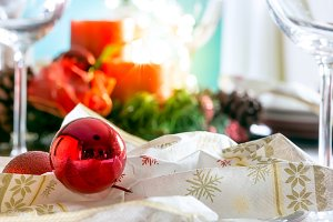 Close up of Christmas Table Setting.