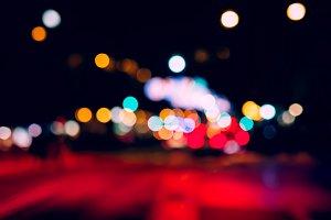 Abstract night traffic bokeh