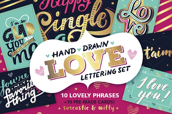 Love lettering  Valentines Cards  Graphics  Creative Market