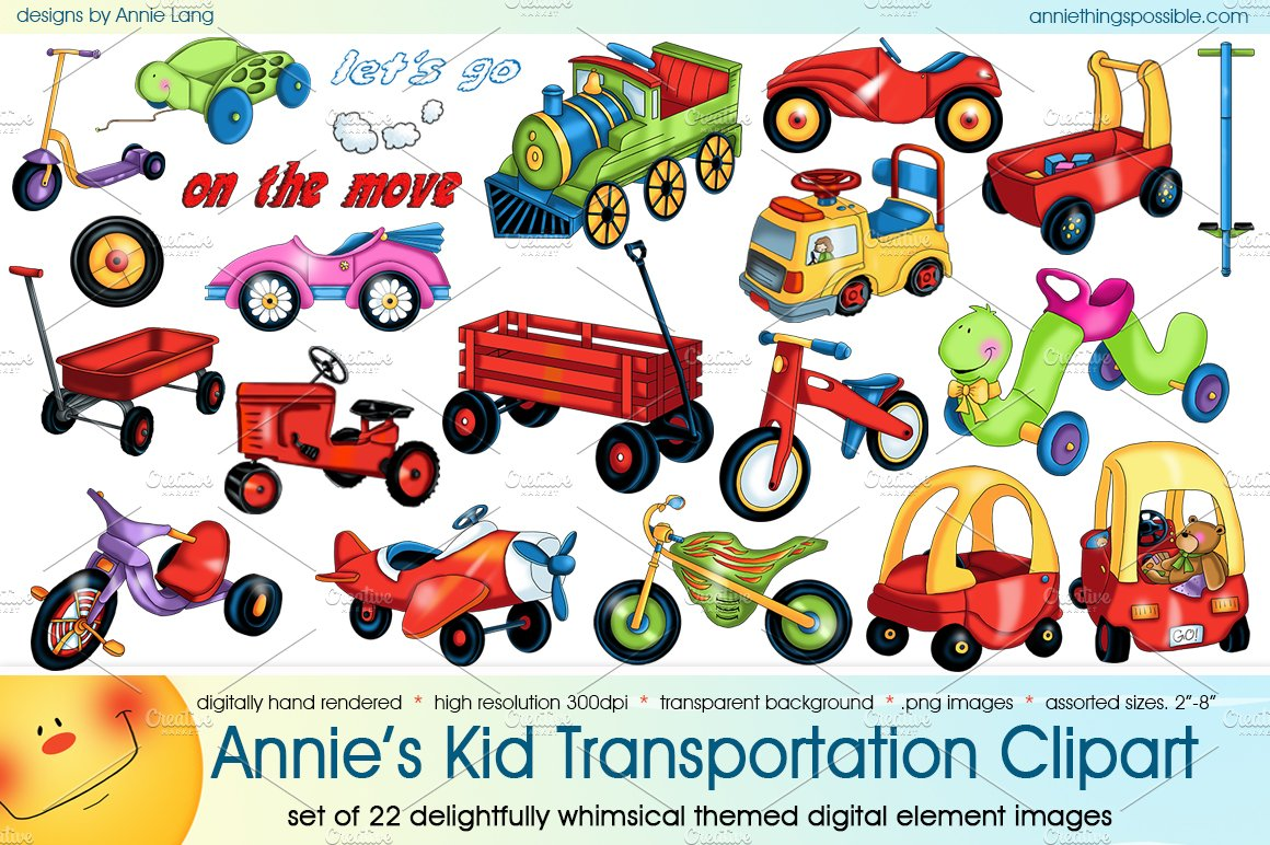 Excellent Annie's Kid Transportation Clipart ~ Illustrations ~ Creative Market ZZ96