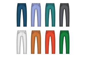 Denim Jeans Different Colors Set