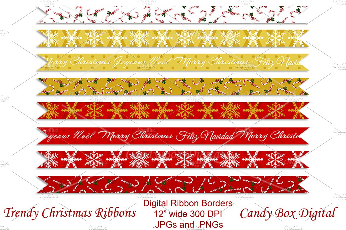 Trendy Christmas Ribbon Borders ~ Graphic Objects ~ Creative Market 185c698e5d95