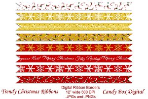 Trendy Christmas Ribbon Borders