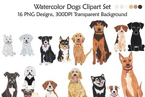 Dogs Clipart, Handmade Illustration