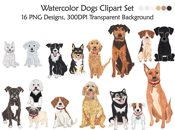 Dogs Clipart Handmade Illustration