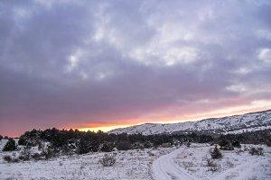 Fantastic winter dramatic landscape