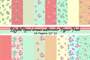 Shabby Chic Digital Watercolor Paper