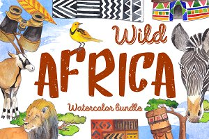 Wild Africa - watercolor bundle