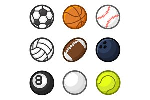 Sport Balls Cartoon Style Set